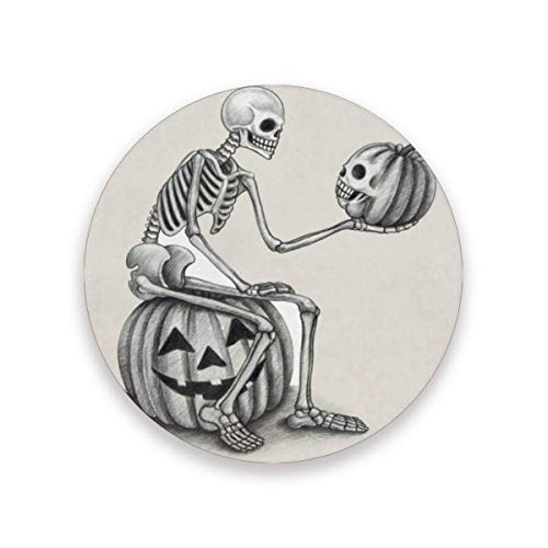 Coasters Funny Minimalist Halloween Skull And Pumpkin Round Cup Mat for Drink Cup Pad for Home/Office/Kitchen/Bar Set of 1/2/4]()