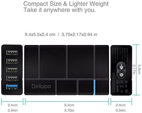 Delippo QC 2.0 Multi Port USB Charger 50W 10A 5 Port USB Desktop Charging Hub Station Compatiable with iPhone 8 7 6s// 6 5s Plus iPad Galaxy S7 S6 Edge Tablets Black