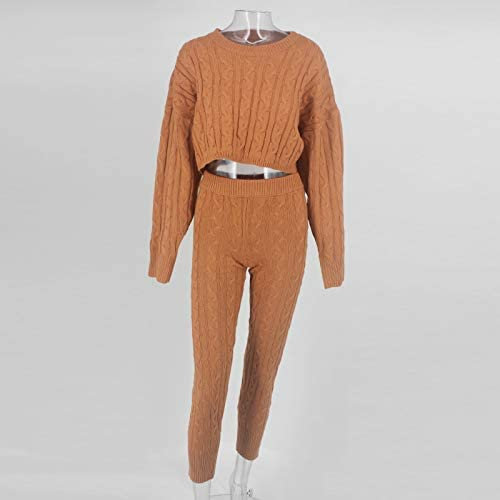 Cosygal Womens Casual Knit 2 Piece Outfit Long Sleeve Sweater Pullover Crop Top and Shorts Pants Jumpsuit Skirts Dress Set