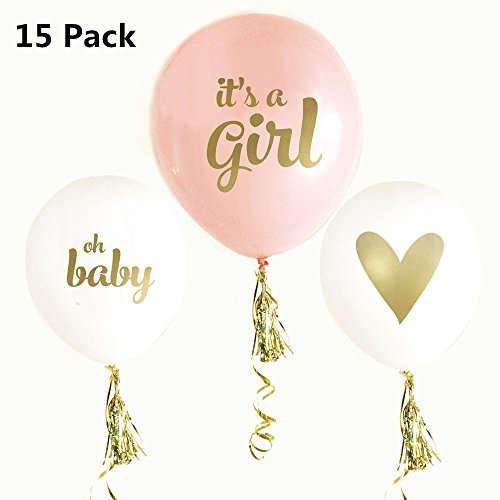 FindFun 12'' Latex Balloon Gold Print It's A Girl with Gold Tassel for Baby Shower Party(Pack of 15,Tassel Included) 12' Metallic Latex Balloons