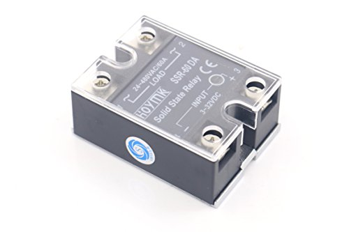 SMAKN SSR-60 DA Single Phase Solid State Module Relay 60A DC 3-32V (3 Phase Solid State Relay 60 Amp)