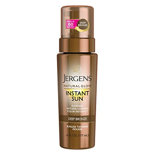 (Jergens Natural Glow Instant Sun Sunless Tanning Mousse for Body, Deep Bronze, 6 Ounces)