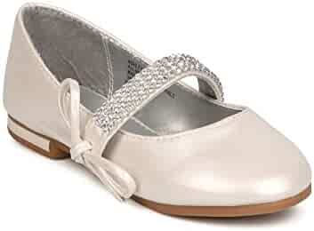 7ceb144fc Girl Leatherette Rhinestone Bow Tie Mary Jane Ballerina Flat (Toddler Kids)  FC70 -