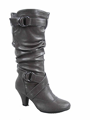 Forever Link Maggie-39 Women's Fashion Low Heel Zipper Slouchy Mid-Calf Boots Shoes Grey