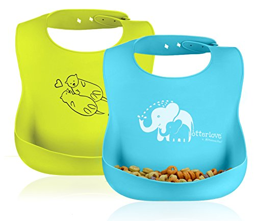 Price comparison product image Otterlove Waterproof Silicone Bib -by PlatinumPure. Set of 2 baby bibs 100% Pure Platinum LFGB Silicone. NO fillers. No BPAs,  BPS,  Phthalates,  VOC's. Organic Baby Safe with Food Catcher Pocket