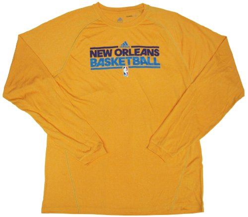 New Orleans Hornets Team Issued Long Sleeve adidas ClimaLite Training Shirt Size 2XLT - Gold