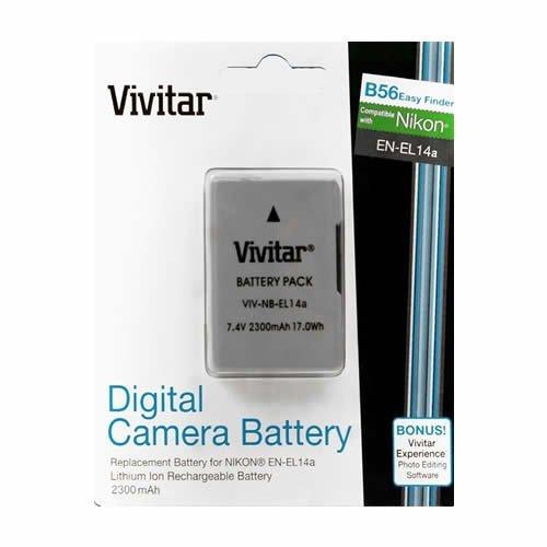 Vivitar EN-EL14 / EN-EL14a Ultra High Capacity 2300mAh Li-ion Battery for NIKON DSLR D5300 D5200 D5100 D3300 D3200 D3100, COOLPIX P7800 P7700 P7100 P7000, Nikon DF (Nikon EN-EL14 Replacement)