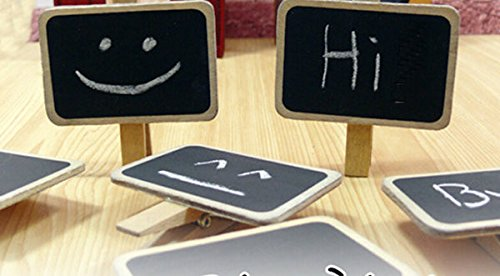 10 Pieces Mini Note Wooden Blackboard Chalkboards Square Paper Clips Message Folders Memo - Square Mall 10