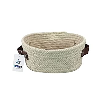 ICEBLUE Oval Shaped Natural Cotton Rope Catchall Toy Chest Sundries Organizer with Leather Handles