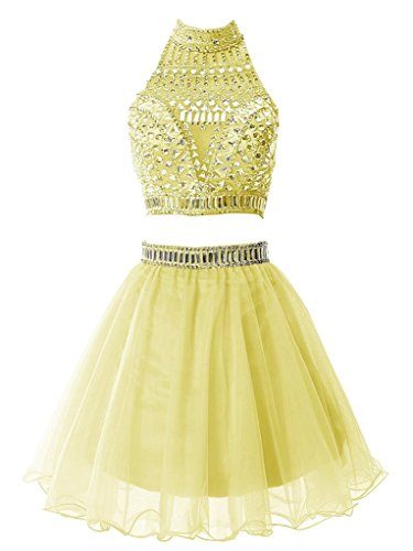 Snowskite Women's Short Two Pieces Beading Tulle Homecoming Prom Dress Yellow 0 by Snowskite