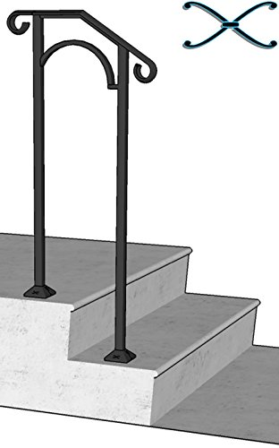 Iron X Handrail Arch #1 Fits 1 or 2 Steps by Iron X Handrail