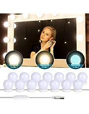 Yideng Vanity Spiegellichten, USB Hollywood Spiegellichten Stick-on Make-up Licht DIY Vullicht voor Kaptafel Badkamer, 3 Kleurmodi & 10 Verstelbare Helderheid & 14 Lampen
