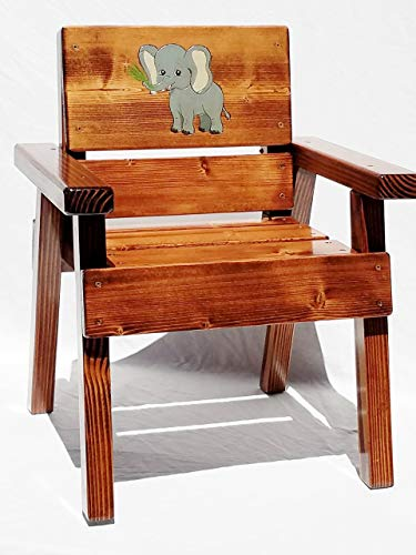 Kids Wood Jungle Safari Chair, Engraved & Painted - Jungle Chair Childrens Painted Hand