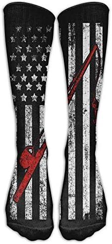 Unisex lange sokken hengel vlag comfortabele knie hoge kousen