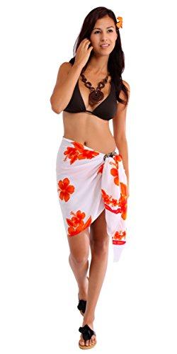 1 World pareo ibisco pareo costume da bagno da donna mezzo in la tua scelta di colori White/Orange