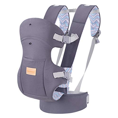 Ergonomic Baby Carrier, Soft Breathable Baby Wrap Backpack Front and Back for Newborn Infants to Toddlers -Dark Grey