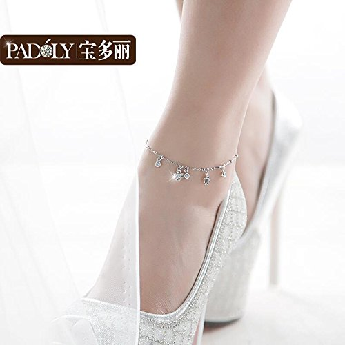 Chardonnay Silver - TKHNE Bao Chardonnay 925 silver Foot Chain anklet ankle chain women girls fresh flower fashion silver jewelry Foot Chain anklet ankle chain Lucky flower blessing