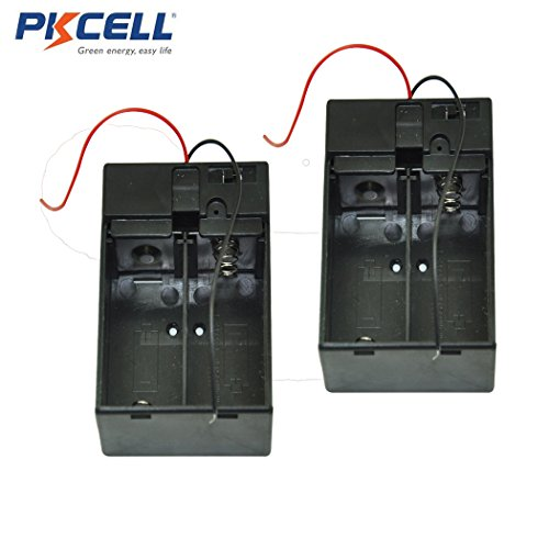 2 Pcs Plastic Shell 2XC 2 X C 2 Cell C Batteries Holder with Cover Switch for 2 x 1.5V C Battery