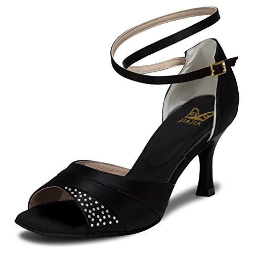 Tacón Sandalias Imitación 2 Satinado 20522 41 Daile '' Super Acampanados Jia 7 Negro De Mujer Zapatos Color Diamantes Latina Con tamaño S584Xawq