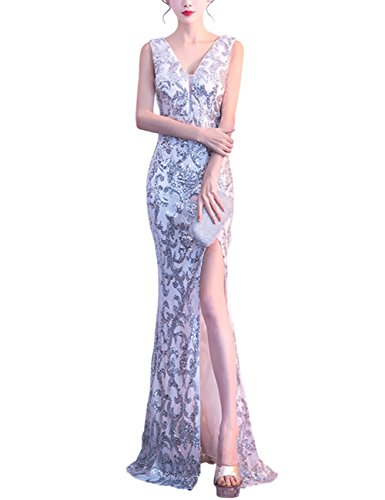 High Women Split Dora V Bridal Evening Neck Sequins Mermaid Dresses Dresses Long Party Silver with wx7gqxT