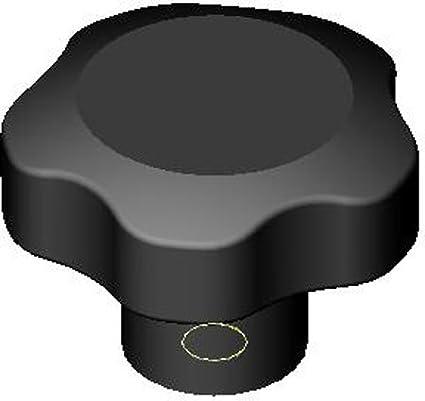 Black Plastic Five Lobe 1//4-20 thd 1 Each Elesa Plastic Knob 1.26 Dia.