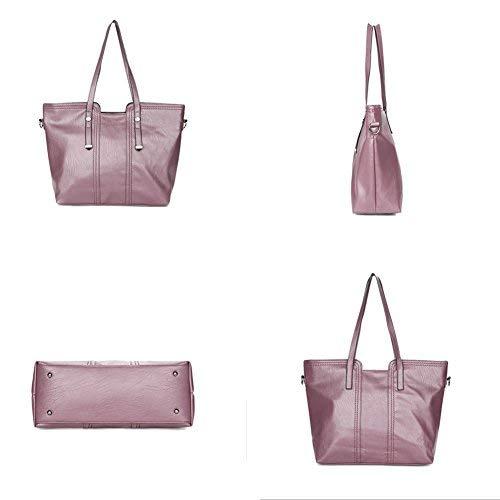 Leder Damen Handtaschen Große Henkeltaschen Satchel Hobo Crossbody Umhängetaschen Taschen Geldbörse mit 3 Stück Set für Frauen Mädchen - Lila