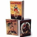 """Nostalgie"" Vintage French Soap Advertising Poster Box w/ 250g Olive Oil Soap Set of 3 For Sale"