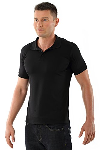 ALBERT KREUZ Herren Poloshirt Funktion Klima cool slimfit antibakteriell mit Silber in schwarz