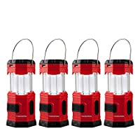 """TANSOREN 4 Pack Portable LED Camping Lantern Solar USB Rechargeable or 3 AA Power Supply, Built-in Power Bank Compati Android Charge, Waterproof Collapsible Emergency LED Light with S"""" Hook"""