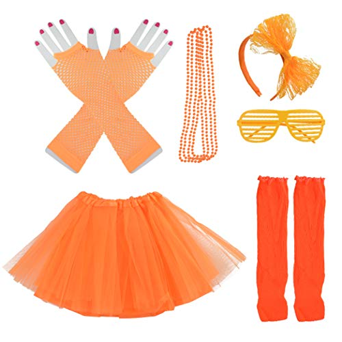 Miayon Kids 6 in 1 Costume Accessories 1970s 1980s Fancy Outfits and Dress for Cosplay Party Theme Party for Girl (Orange)