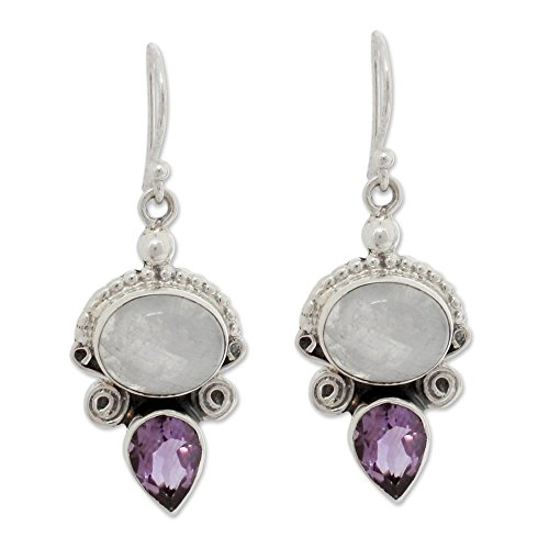 (NOVICA Multi-Gem Moonstone - Rainbow .925 Sterling Silver Dangle Earrings 'Regal Allure')
