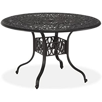 Amazoncom Outsunny Round Cast Aluminum Outdoor Dining Table
