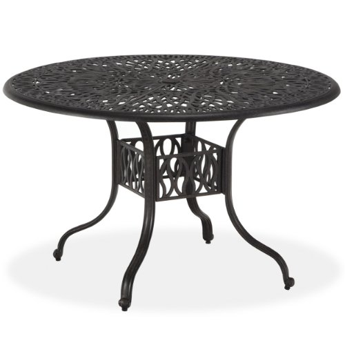 Home Styles Floral Blossom Round Dining Table, 42-Inch, Charcoal