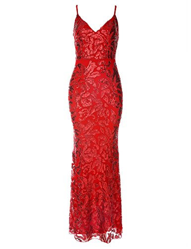rap Sequin Long Prom Gown Cocktail Party Dress Women (Red, 2) ()