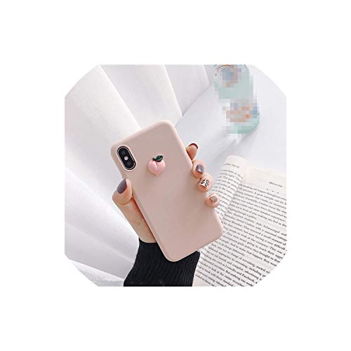 (Cute 3D Fruit Banana Peach Grape Macaron Silicone Pink Phone case for iPhone X XR XS MAX 6S 7 8 Plus for Samsung S10 S9 S8 Note,A,for iPhone X)