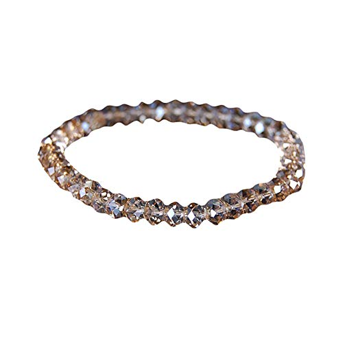 (gu6uesa8n Crystal Beads Bracelet Strand Charm Bracelet Elastic Chain for Women Girls Jewelry Gift - Champagne )