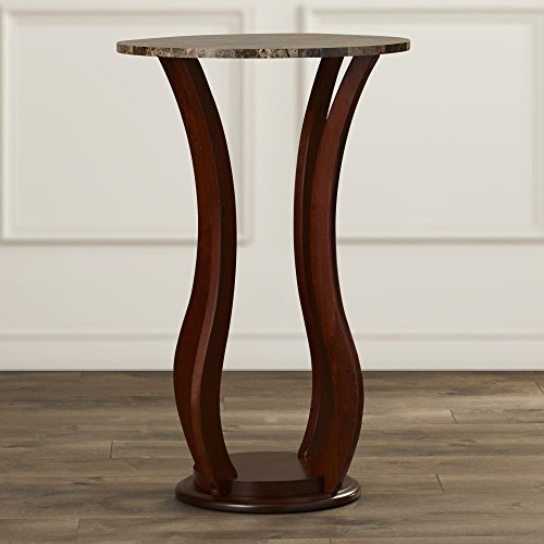 Indoor Plant Stand - Wood With Faux Marble Top - Contemporary Pedestal Display Stand In Cherry - Cherry Finish Pedestal