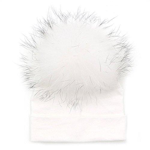 GZHILOVINGL Baby Toddler Bonnet Hat with Big Real Fur Pom Pom, Kid Girl Spring Beanie