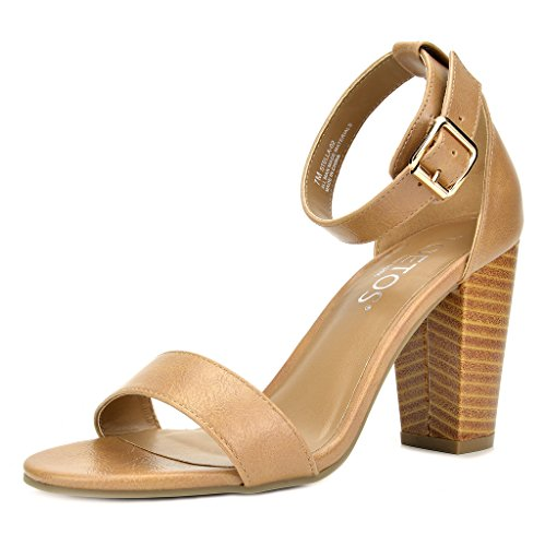 TOETOS Women's Stella-02 Nude Pu Open Toe Mid Chunky Heel Pump Sandals - 10 M US