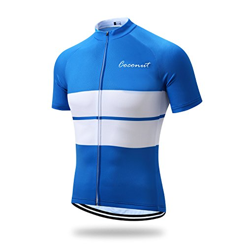 White Short Sleeve Cycling Jersey (Runmaner Men's Cycling Jersey Short Sleeve Bike Clothing (XXX-Large, Blue&White))