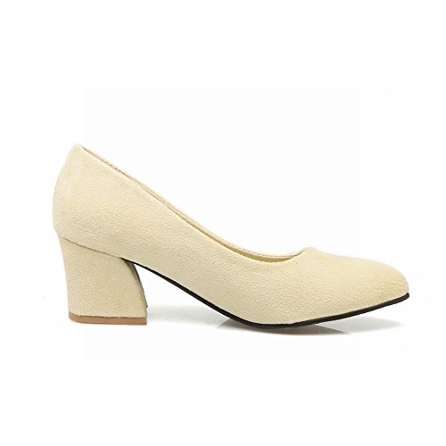 Charm Foot Womens Elegant Chunky Mid Heel Pointed Toe Pumps Shoes Beige msbfnF
