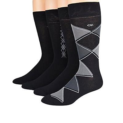Calvin Klein Men's Socks Argyle/Flat Knit Crew Black Asst 4pairs