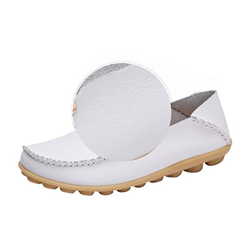 Driving Wild Loafers Women's Leather Show Casual Moccasins Shoes Toe White Brand Best Fashion Flats Round anqXPvH