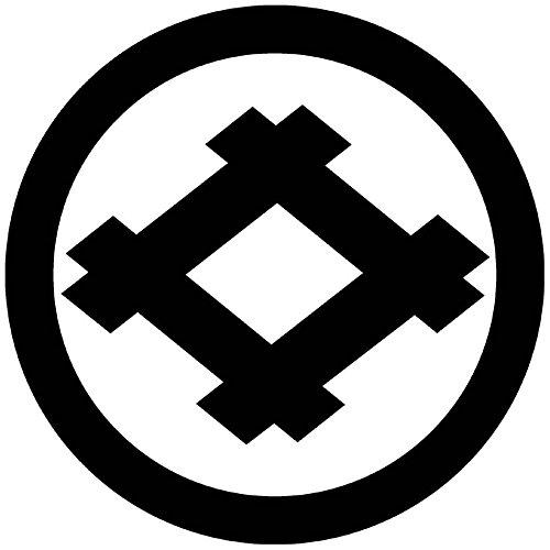 (家紋シール)丸に井桁 女性紋 2.3cm(23φ) 黒紋服用