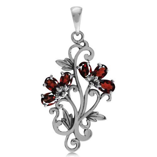 Natural Garnet 925 Sterling Silver Victorian Style Flower & Leaf Pendant