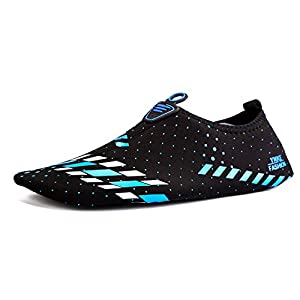 Fruiter Men Women Quick-Dry Water Shoes Lightweight & Breathable Aqua Socks For Beach Pool Surf Yoga FWS1996-Black 03-XL