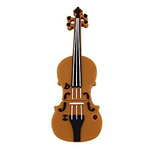 CHUYI Cute and Novelty Violin Shape 8GB USB 2.0 Flash Drive Pen Drive Memory Stick Data Storage Jump Drive Pendrive with Key Ring Gift (Brown)