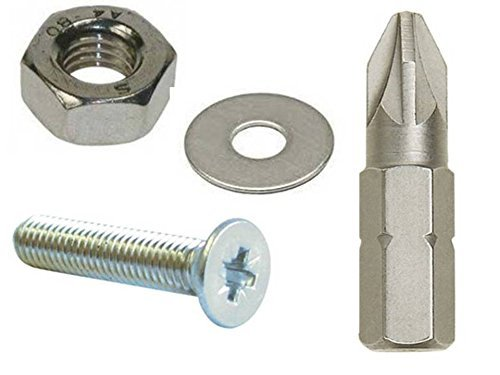 M4 4mm A2 Stainless Steel Pozi Countersunk Machine Screw, Nuts, Washers and Free Insert Bit by AHC