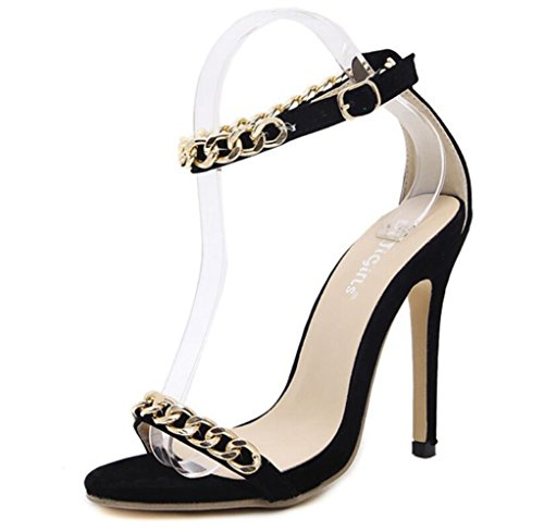 LINYI Ankle Strap Stiletto Heels Sandals Womens Summer Fashion Chain Decorative Open Toe High Heels Black PxDN6wH
