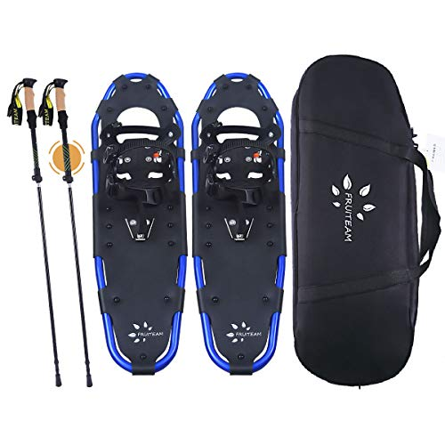 FRUITEAM Lightweight Adjustable Snow Shoes, Snowshoes for Women, Men, Youth, with Free Carrying Tote Bag, Trekking Poles,22